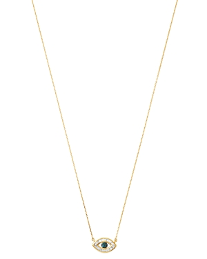 Adina Reyter 14K Yellow Gold White & Blue Diamond Evil Eye Pendant Necklace, 16