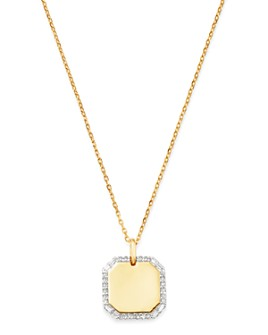 "Adina Reyter - 14K Yellow Gold Diamond Dog Tag Necklace, 20"""