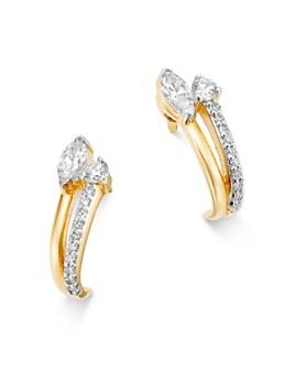 Adina Reyter - 14K Yellow Gold Grace Diamond J Hoop Earrings