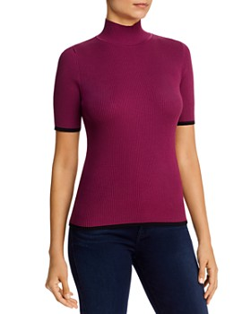 Kenneth Cole - Ribbed Tipped Mock-Neck Sweater