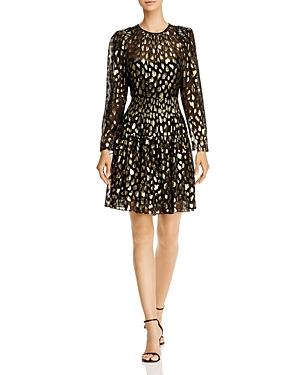 Rebecca Taylor Dresses SILK-BLEND METALLIC LEOPARD MINI DRESS