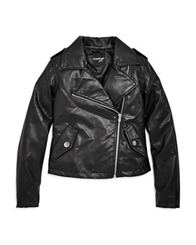 bebe - Girls' Faux Leather Moto Jacket - Big Kid
