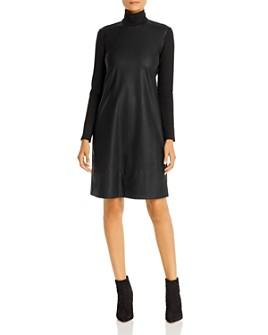 Marella - Ordito Faux-Leather Turtleneck Dress