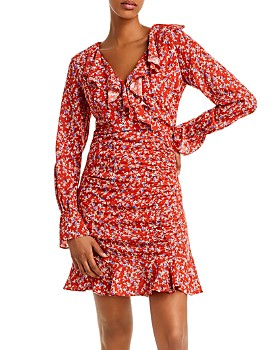 Lost and Wander - Stefanie Ruffled Floral Faux-Wrap Dress