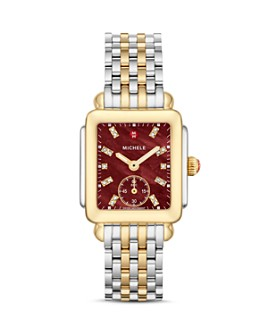 MICHELE - Deco Madison Mid Red Dial Diamond Watch Head, 29mm x 31mm