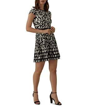 KAREN MILLEN - Leopard Jacquard Fit-and-Flare Dress