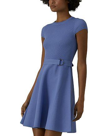KAREN MILLEN - Belted Knit Fit-and-Flare Dress