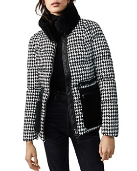 Mackage - Elise Shearling-Trim Houndstooth Down Coat