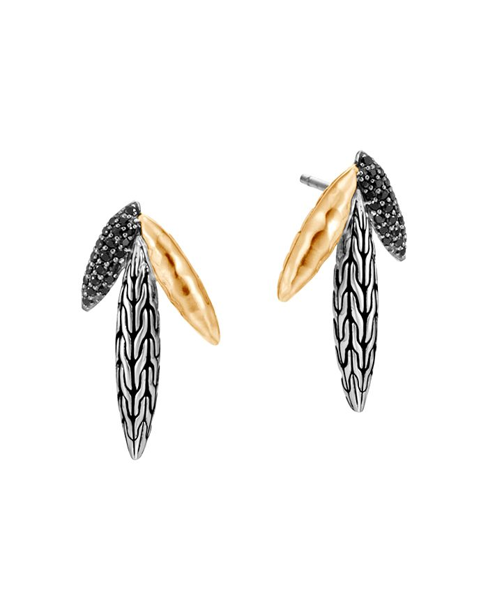 JOHN HARDY - Sterling Silver & 18K Yellow Gold Classic Chain Black Sapphire & Black Spinel Spear Drop Earrings