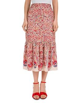 Gerard Darel - Terry Shirred Botanical-Print Midi Skirt