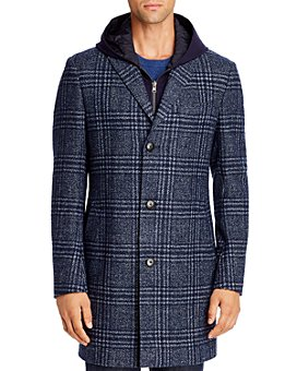 Cardinal Of Canada - Plaid Regular Fit Topcoat with Removable Jersey Hooded Bib
