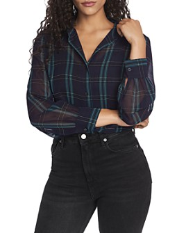 1.STATE - Semi-Sheer Plaid Blouse