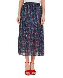 Gerard Darel - Terry Pleated Paisley & Floral Midi Skirt