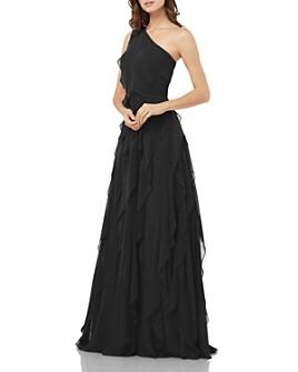 Carmen Marc Valvo Infusion - One-Shoulder Cascading Flounce Dress