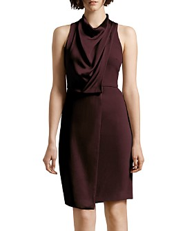 HALSTON - Draped Satin Crepe Combo Dress