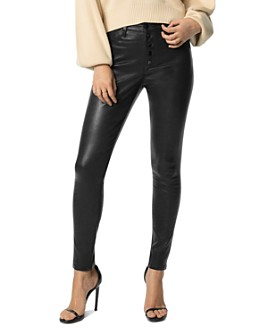 Joe's Jeans - The Charlie Ankle Exposed Button Fly Leather Pants in Black