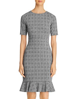 Leota - Gia Checked Knit Flounce-Hem Dress