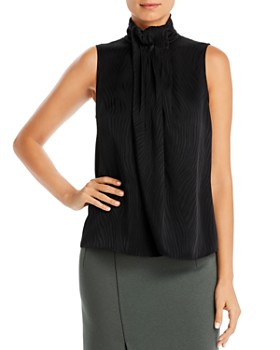 Armani - Sleeveless Pleated-Neck Blouse