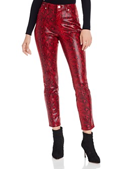 BLANKNYC - Snake Print Faux-Leather Skinny Jeans in Firehouse