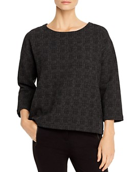 Eileen Fisher Petites - Check-Print Boxy Top - 100% Exclusive
