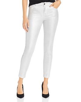 J Brand - Alana Metallic Corduroy Cropped Skinny Jeans in Silver Messaline