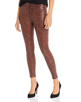 J Brand - Alana High Rise Cropped Skinny Jeans in Éclair Coated Snake