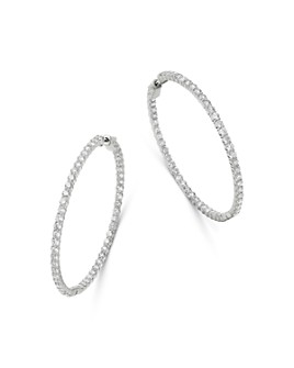 Bloomingdale's - Diamond Large Inside Out Hoop Earrings in 14K White Gold, 8.0 ct. t.w. - 100% Exclusive