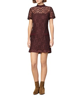 Sandro - Bordaux Lace Mini Dress