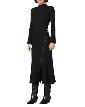 Sandro - Lizza Embellished Stretch-Knit Midi Dress