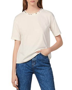 Sandro - Studded-Neck Tee