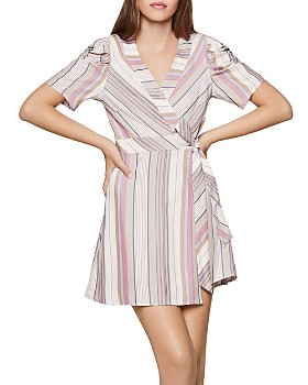 BCBGENERATION - Ruched-Sleeve Faux-Wrap Dress
