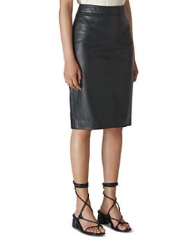 Whistles - Kel Leather Knee-Length Pencil Skirt