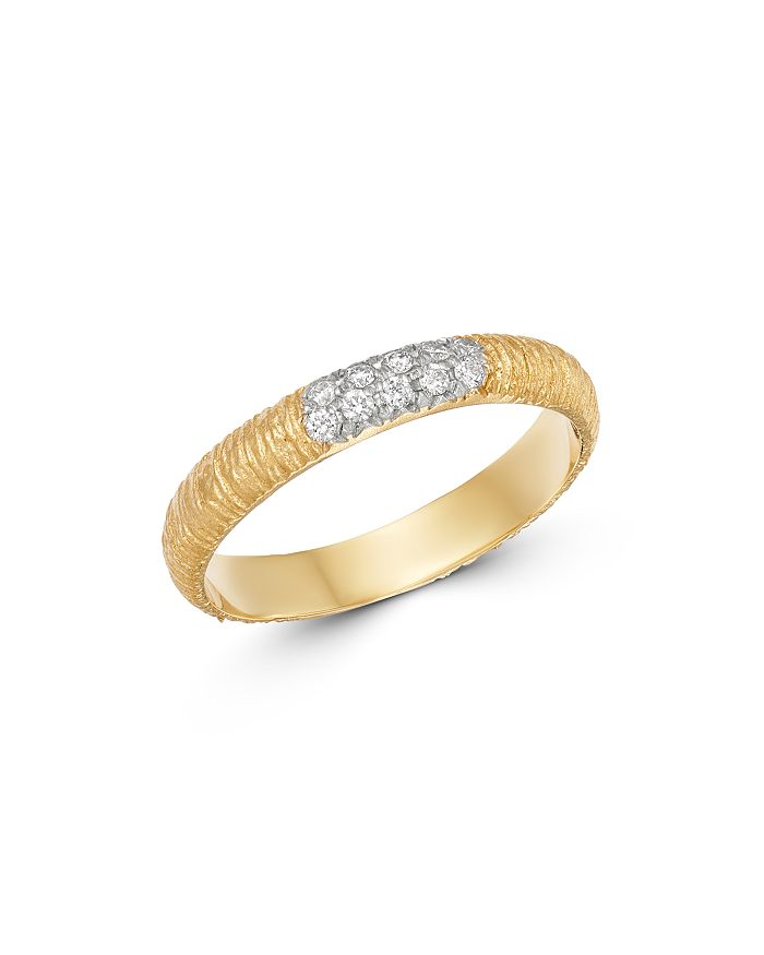 Meira T - 14K Yellow Textured Gold Ring with Diamonds