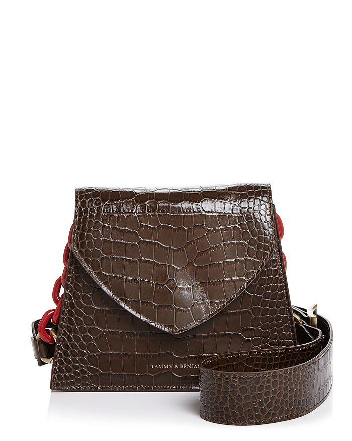 Tammy & Benjamin - Gabrielle Croc-Embossed Shoulder Bag