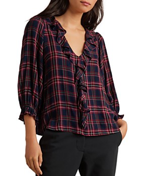 Velvet by Graham & Spencer - Addison Ruffle-Trimmed Plaid Top
