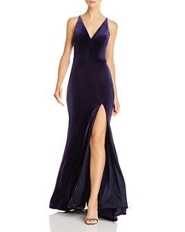 AQUA - Velvet Sleeveless Gown - 100% Exclusive