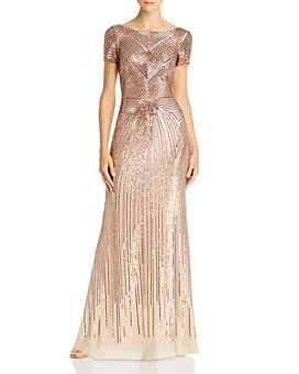 AQUA - Sequin Boat-Neck Gown - 100% Exclusive