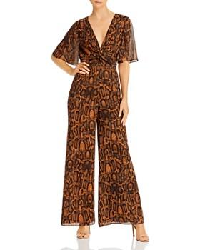 Finders Keepers - Lana Flutter Sleeve Snakeskin Print Jumpsuit