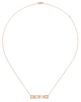 Dinh Van - 18K Rose Gold Pulse Bar Station Necklace with Diamonds, 16.5""