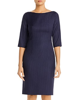 BOSS - Dokos Checked Sheath Dress