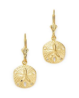 Sand Dollar Drop Earrings in 14K Yellow Gold