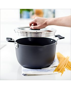 GreenPan - Levels 6 Qt. Hard Anodized Stackable Ceramic Nonstick Stockpot with Straining Lid