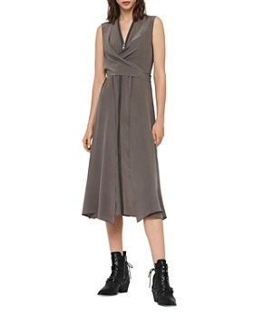 ALLSAINTS - Jayda Zip-Front Silk Midi Dress