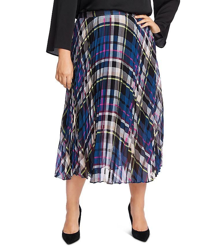 VINCE CAMUTO Plus - Pleated Plaid Midi Skirt