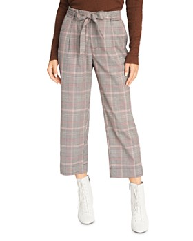 Sanctuary - Belted Plaid Cropped Pants