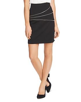 VINCE CAMUTO - Zipper Trim Ponte Mini Skirt