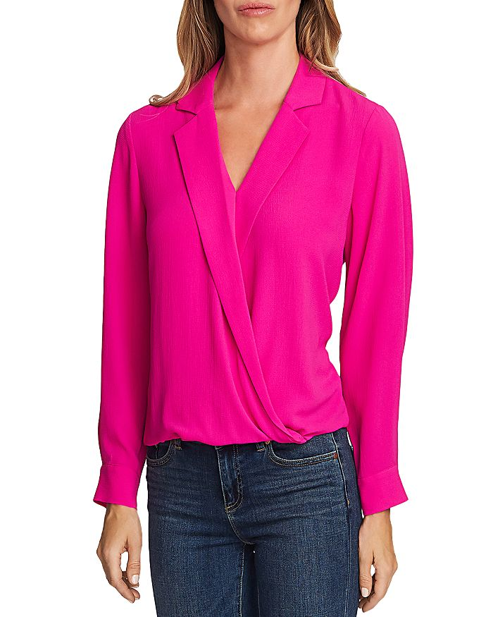 VINCE CAMUTO - Crossover-Front Faux Wrap Blouse
