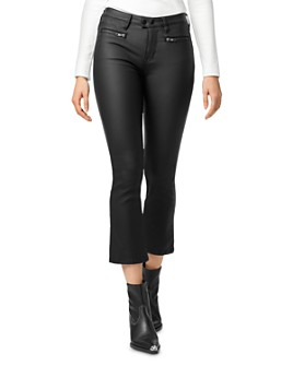 Sanctuary - Zip Connector Kick Crop Bootcut Jeans in Coated Black