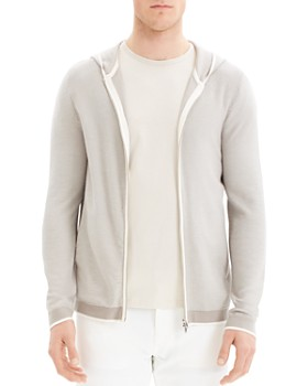 Theory - Braghe Striped Zip-Front Hoodie
