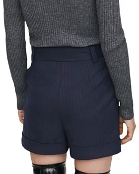 Maje - Daia Pleated Pinstriped Shorts